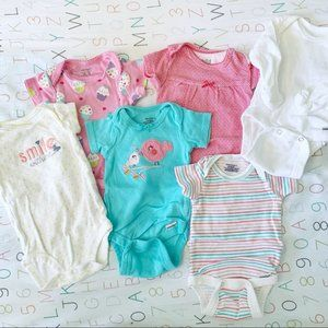 •, Bundle of 6 Newborn Girl Onesies